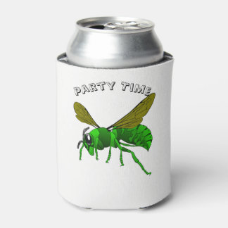 Cartoon green and lime hornet wasp bee can cooler