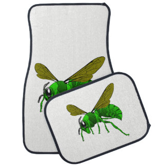 Cartoon green and lime hornet wasp bee car mat