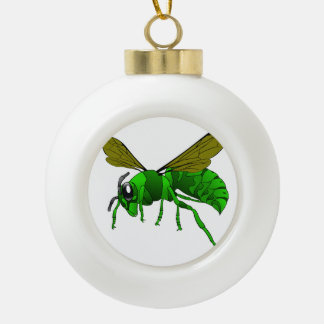 Cartoon green and lime hornet wasp bee ceramic ball christmas ornament