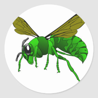 Cartoon green and lime hornet wasp bee classic round sticker