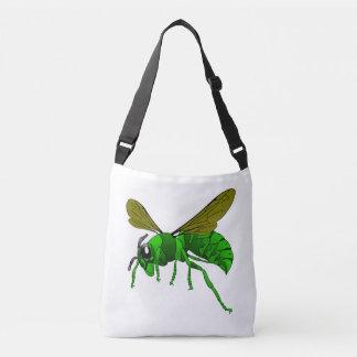 Cartoon green and lime hornet wasp bee crossbody bag