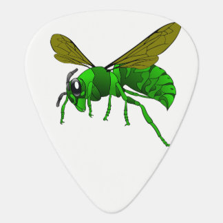 Cartoon green and lime hornet wasp bee guitar pick