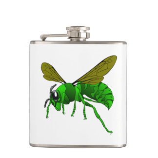 Cartoon green and lime hornet wasp bee hip flask