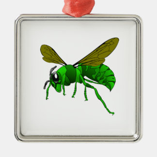 Cartoon green and lime hornet wasp bee metal ornament