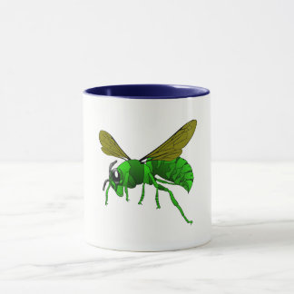 Cartoon green and lime hornet wasp bee mug