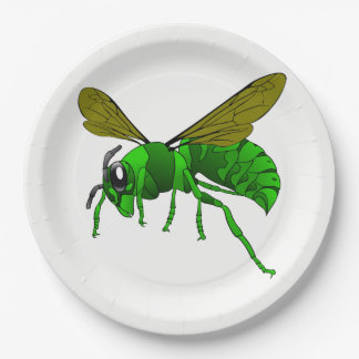 Cartoon green and lime hornet wasp bee paper plate