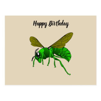 Cartoon green and lime hornet wasp bee postcard