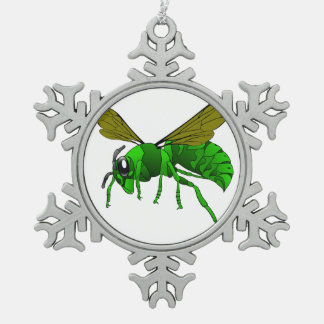Cartoon green and lime hornet wasp bee snowflake pewter christmas ornament