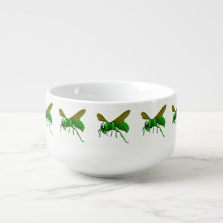 Cartoon green and lime hornet wasp bee soup mug