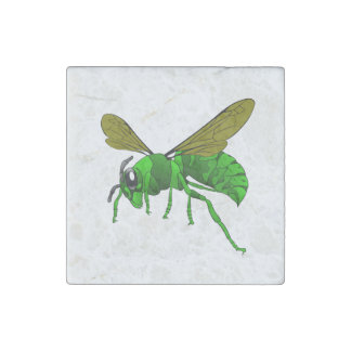 Cartoon green and lime hornet wasp bee stone magnets