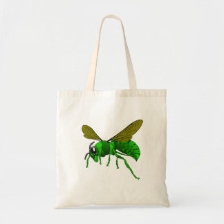 Cartoon green and lime hornet wasp bee tote bag