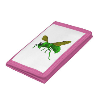 Cartoon green and lime hornet wasp bee trifold wallet
