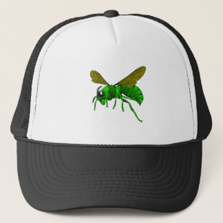 Cartoon green and lime hornet wasp bee trucker hat