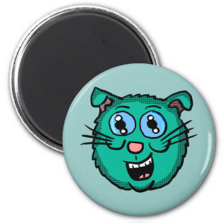 Cartoon Green Cat Head Magnet