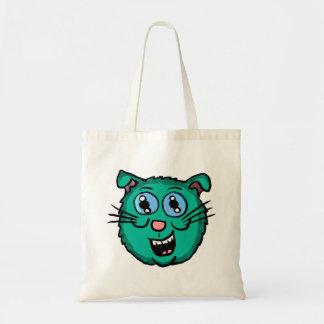 Cartoon Green Cat Head Tote Bag