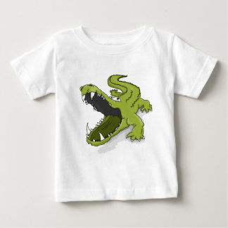Cartoon green crocodile alligator mouth open baby T-Shirt