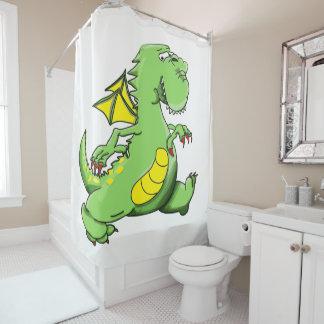 Cartoon green dragon walking on his back feet