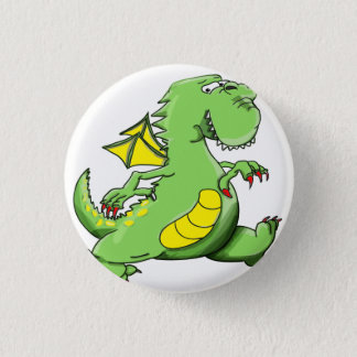 Cartoon green dragon walking on his back feet 1 inch round button