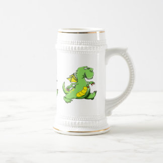 Cartoon green dragon walking on his back feet beer stein