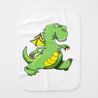 Cartoon green dragon walking on his back feet burp cloth