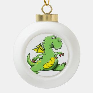 Cartoon green dragon walking on his back feet ceramic ball christmas ornament