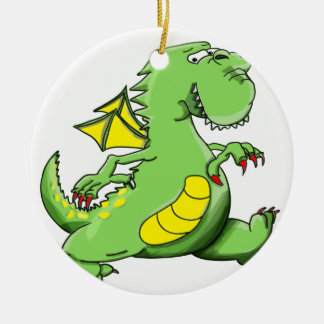Cartoon green dragon walking on his back feet ceramic ornament