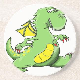 Cartoon green dragon walking on his back feet coaster
