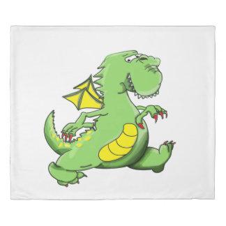 Cartoon green dragon walking on his back feet duvet cover