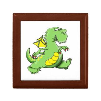 Cartoon green dragon walking on his back feet gift box
