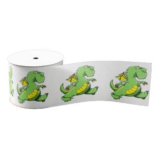 Cartoon green dragon walking on his back feet grosgrain ribbon