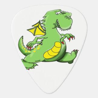 Cartoon green dragon walking on his back feet guitar pick