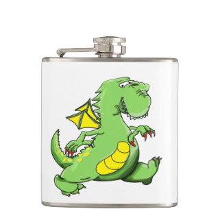 Cartoon green dragon walking on his back feet hip flask