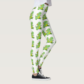 Cartoon green dragon walking on his back feet leggings