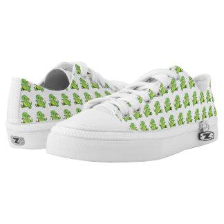 Cartoon green dragon walking on his back feet Low-Top sneakers