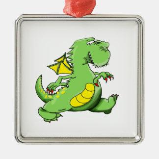 Cartoon green dragon walking on his back feet metal ornament