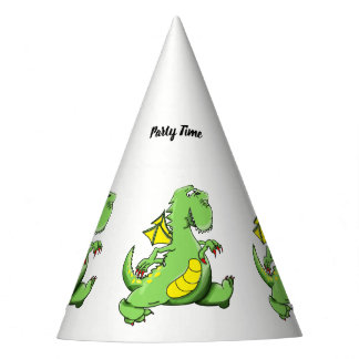 Cartoon green dragon walking on his back feet party hat