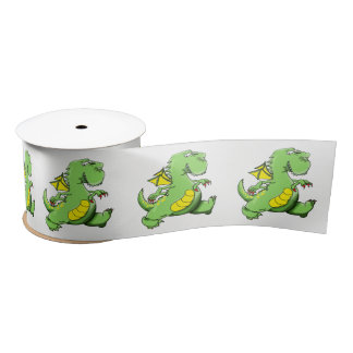 Cartoon green dragon walking on his back feet satin ribbon