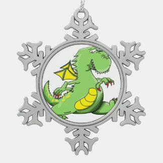 Cartoon green dragon walking on his back feet snowflake pewter christmas ornament