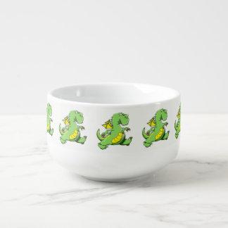 Cartoon green dragon walking on his back feet soup mug