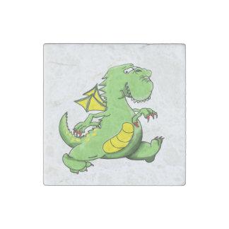 Cartoon green dragon walking on his back feet stone magnets