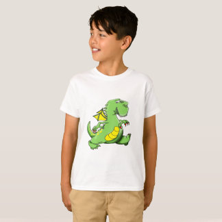 Cartoon green dragon walking on his back feet T-Shirt