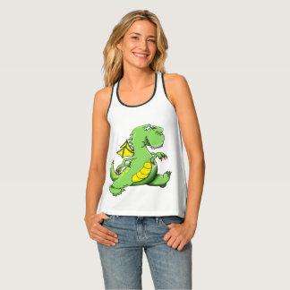 Cartoon green dragon walking on his back feet tank top