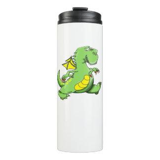 Cartoon green dragon walking on his back feet thermal tumbler