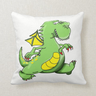 Cartoon green dragon walking on his back feet throw pillow