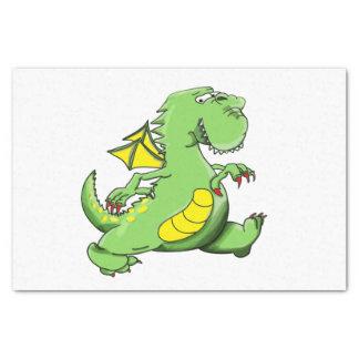 Cartoon green dragon walking on his back feet tissue paper
