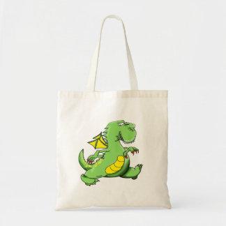 Cartoon green dragon walking on his back feet tote bag