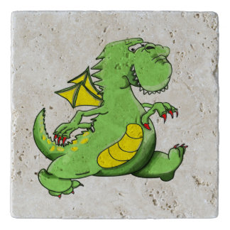 Cartoon green dragon walking on his back feet trivet