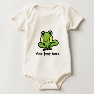 cartoon green speckled frog customisable baby bodysuit