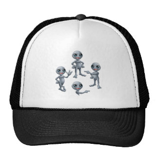 Cartoon Grey Alien Set Trucker Hat