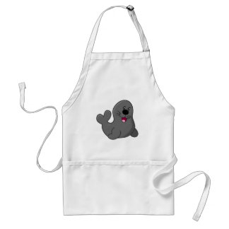 Cartoon Grey Seal Standard Apron